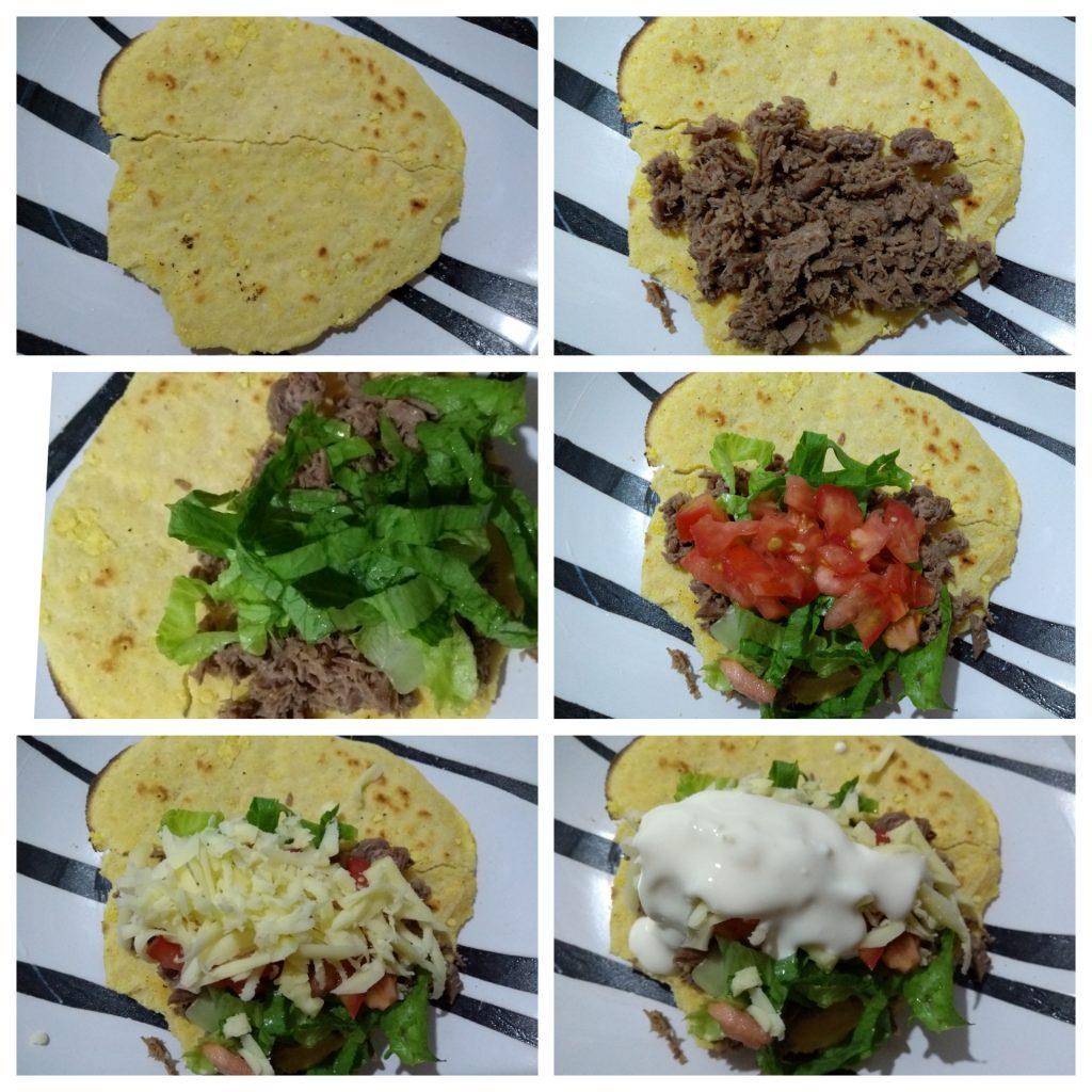 Taco receita completa carne machaca tortilha de milho sour cream